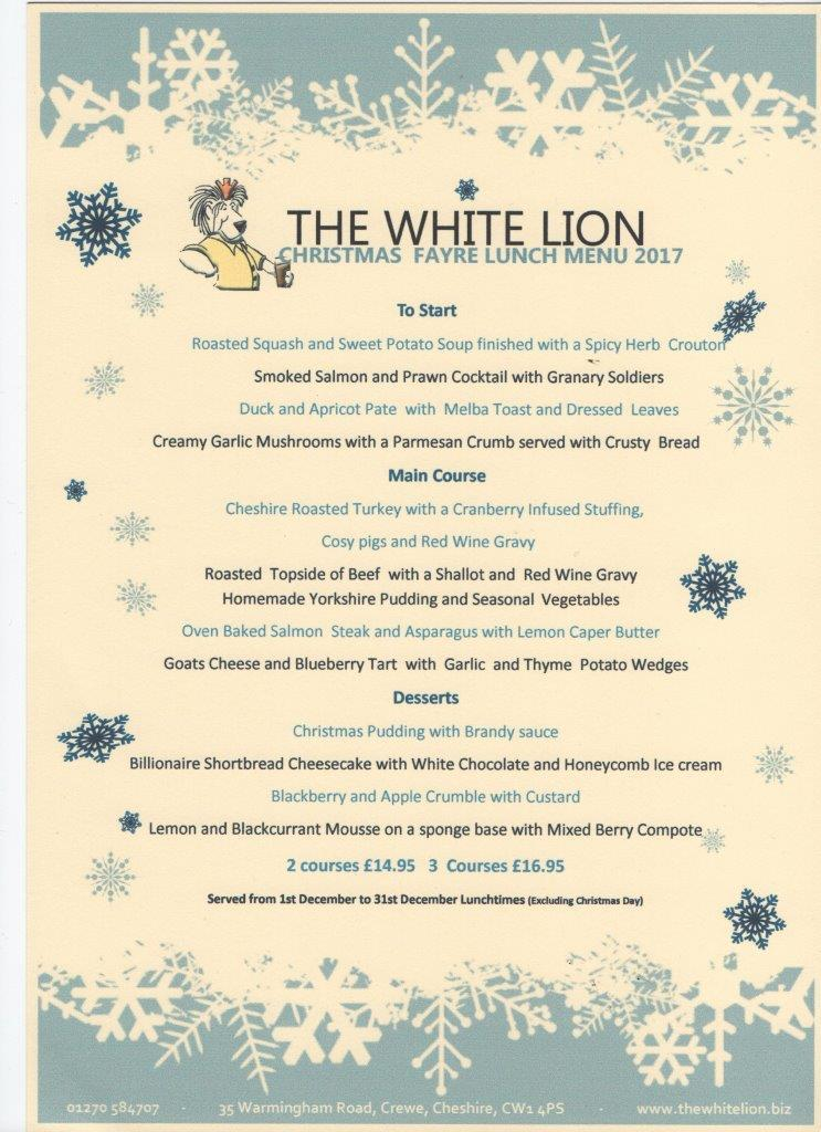 christmas lunch menu 2017